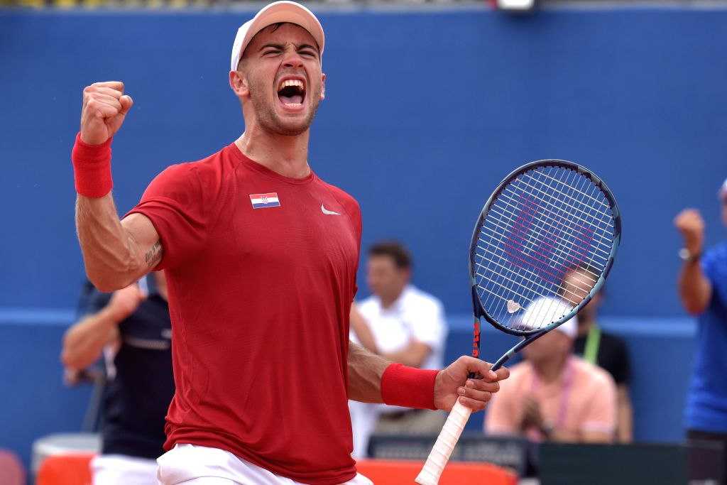 ZADAR, Sept. 15, 2018 - Borna Coric of Croatia celebrates scoring during the semifinal match against Steve Johnson of the United States of Davis Cup in Zadar, Croatia, on Sept. 14, 2018. Borna Coric ...