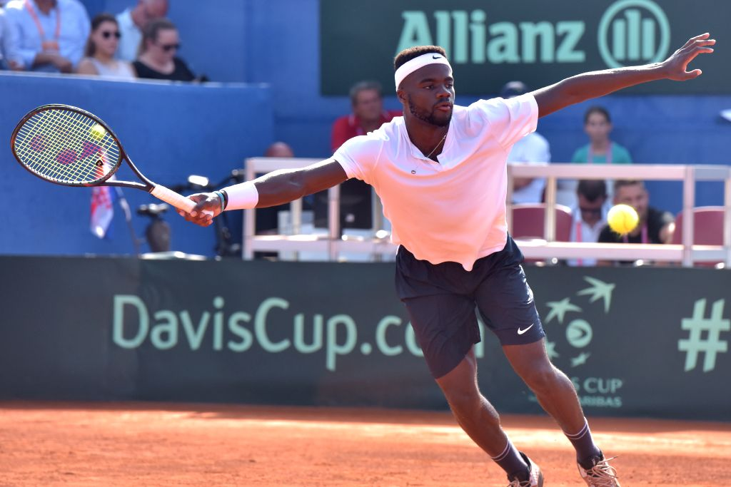 ZADAR, Sept. 15, 2018 - Frances Tiafoe of the United States returns a shot to Marin Cilic of Croatia during a semifinal match of Davis Cup in Zadar, Croatia, on Sept. 14, 2018. Marin Cilic won 3-0.