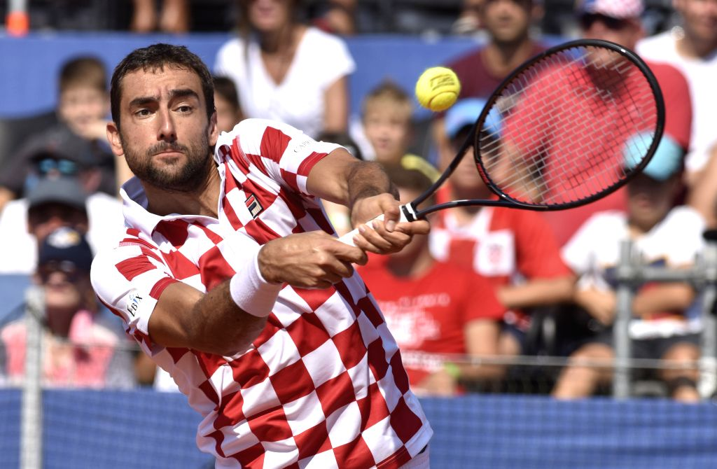 ZADAR, Sept. 16, 2018 - Marin Cilic of Croatia hits a return during the Davis Cup World Group semifinal tennis match against Sam Querrey of the United States in Zadar, Croatia, Sept. 16, 2018.