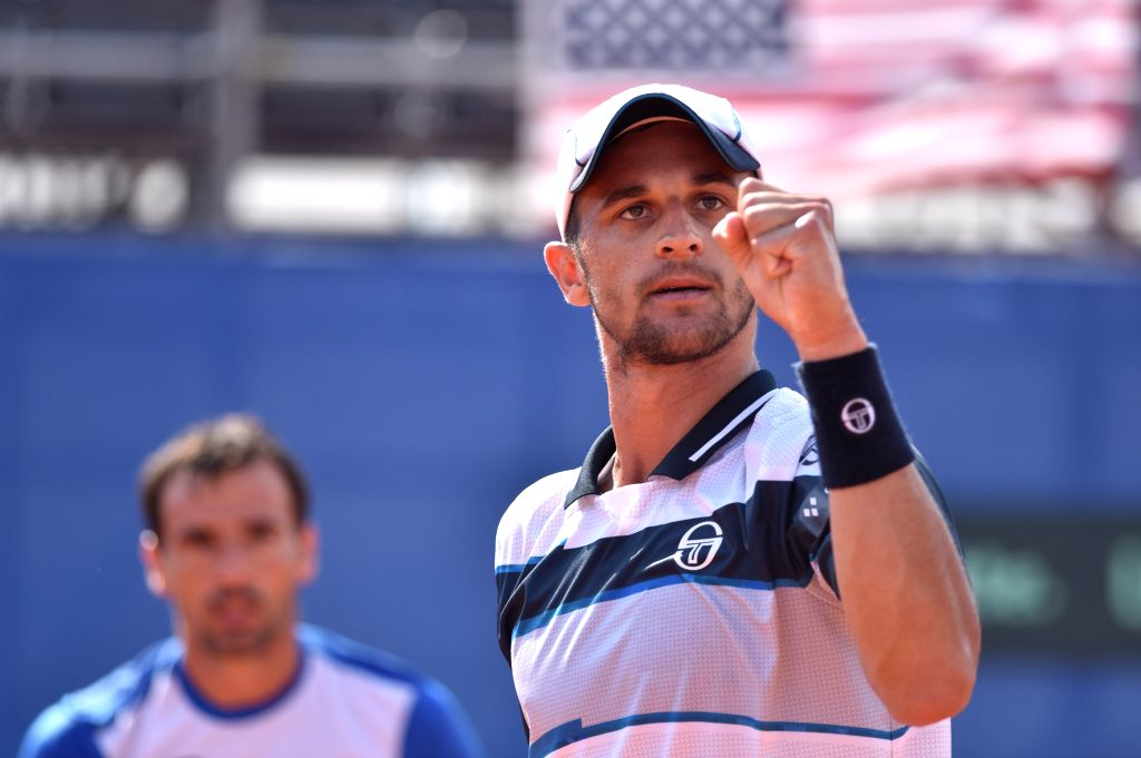 ZADAR, Sept. 16, 2018 - Mate Pavic (R) of Croatia reacts during Davis Cup semifinal doubles match against Mike Bryan and Ryan Harrison of the United States in Zadar, Croatia, Sept. 15, 2018. The ...