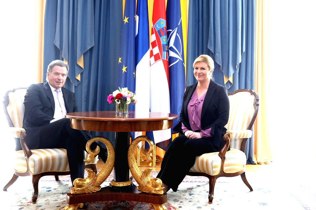 ZAGREB, April 10, 2018 - Visiting Finnish President Sauli Niinisto (L) meets with Croatian President Kolinda Grabar-Kitarovic at the Presidential Palace in Zagreb, capital of Croatia, on April 10, ...