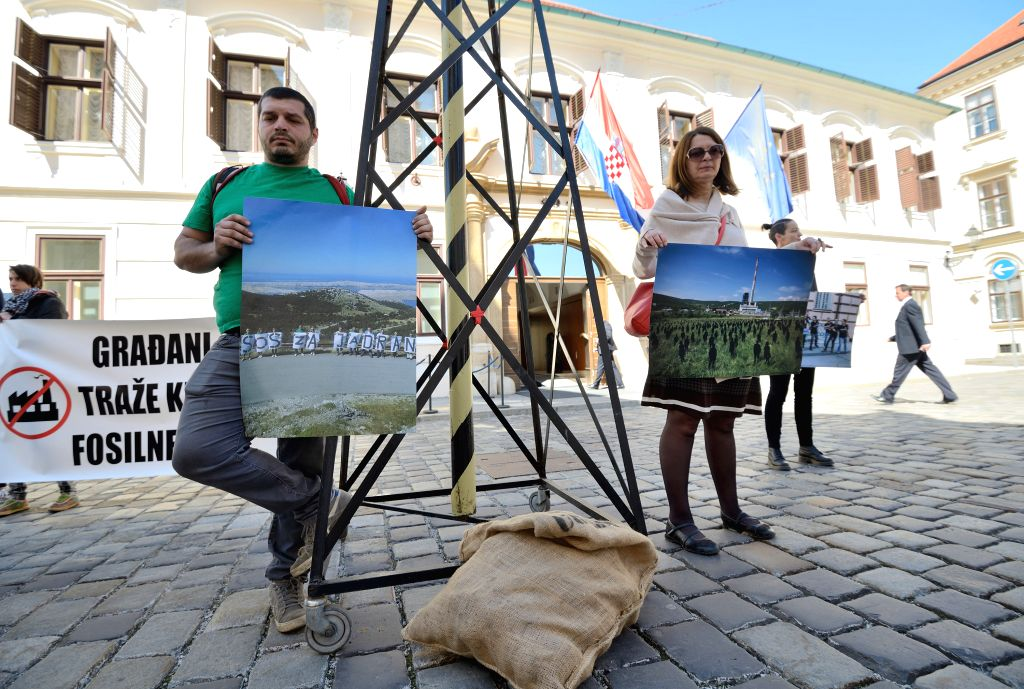 ZAGREB, April 21, 2016 - Croatian environmentalists participate in an Earth Day protest against fossil fuels energy in Zagreb, capital of Croatia, on April 21, 2016. This year, Earth Day coincides ...