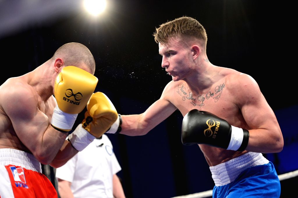 ZAGREB, April 7, 2018 - British boxer Dalton Smith (R) fights against Croatian boxer Ivan Njegac during WSB8 Week 10 match between British Lionhearts and Croatian Knights in Zagreb, Croatia, on April ...