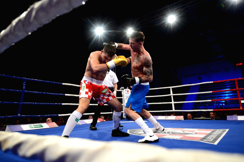 ZAGREB, April 7, 2018 - Croatian boxer Marco Opsivac (L) fights against British boxer Jordan Reynolds during WSB8 Week 10 match between British Lionhearts and Croatian Knights in Zagreb, Croatia, on ...