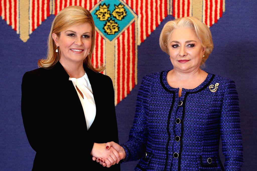 ZAGREB, Dec. 3, 2018 - Croatian President Kolinda Grabar-Kitarovic (L) meets with Romanian Prime Minister Viorica Dancila in Zagreb, Croatia, on Dec. 3, 2018. The two-day summit of the Central ... - Viorica Dancila