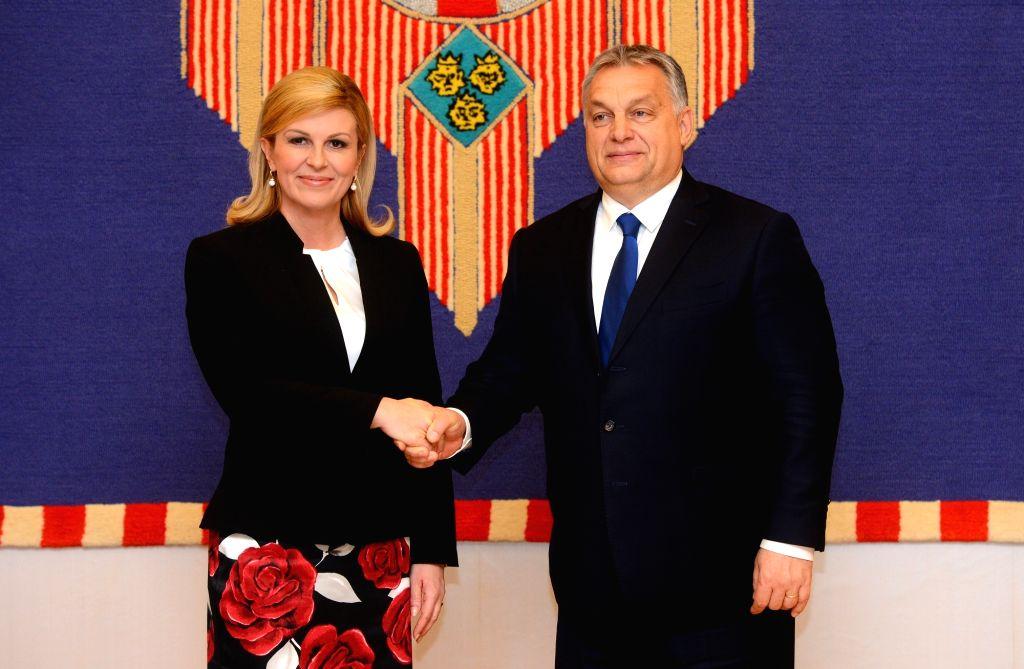 ZAGREB, Dec. 3, 2018 - Croatian President Kolinda Grabar-Kitarovic (L) meets with Hungarian Prime Minister Viktor Orban in Zagreb, Croatia, on Dec. 3, 2018. The two-day summit of the Central European ... - Viktor Orban