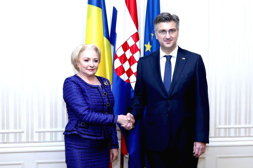 ZAGREB, Dec. 3, 2018 - Croatian Prime Minister Andrej Plenkovic (R) meets with Romanian Prime Minister Viorica Dancila in Zagreb, Croatia, on Dec. 3, 2018. The two-day summit of the Central European ... - Andrej Plenkovic