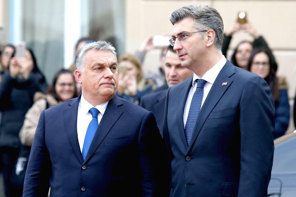 ZAGREB, Dec. 3, 2018 - Croatian Prime Minister Andrej Plenkovic (R) meets with Hungarian Prime Minister Viktor Orban in Zagreb, Croatia, on Dec. 3, 2018. The two-day summit of the Central European ... - Andrej Plenkovic