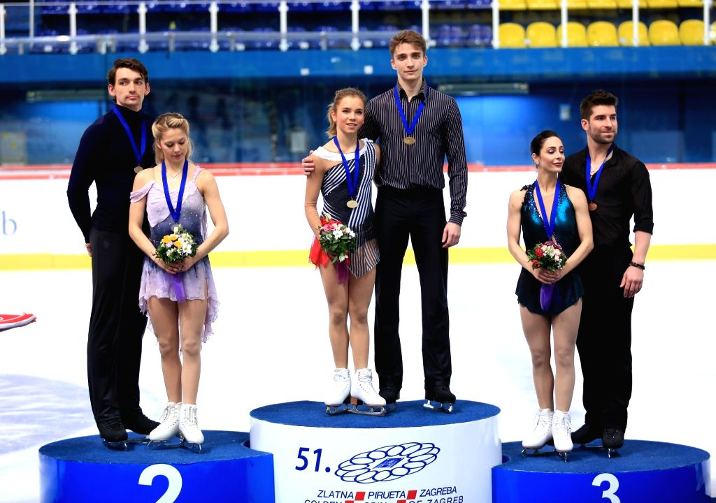 ZAGREB, Dec. 8, 2018 - Gold medalists Alisa Efimova (3rd L) and Alexander Korovin (3rd R) of Russia, silver medalists Alexa Scimeca Knierim (2nd L) and Chris Knierim (1st L) of the United States and ...