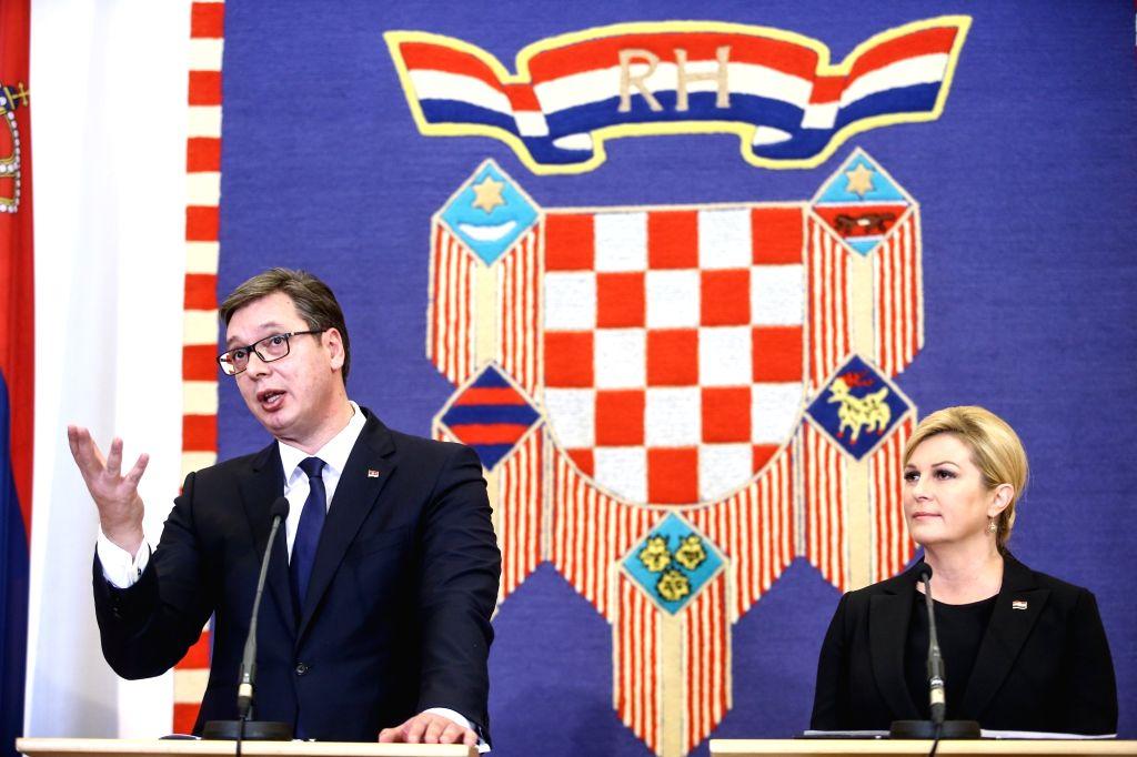 ZAGREB, Feb. 12, 2018 - Visiting Serbian President Aleksandar Vucic (L) addresses a press conference with Croatian President Kolinda Grabar-Kitarovic in Zagreb, Croatia, on Feb. 12, 2018. The ...