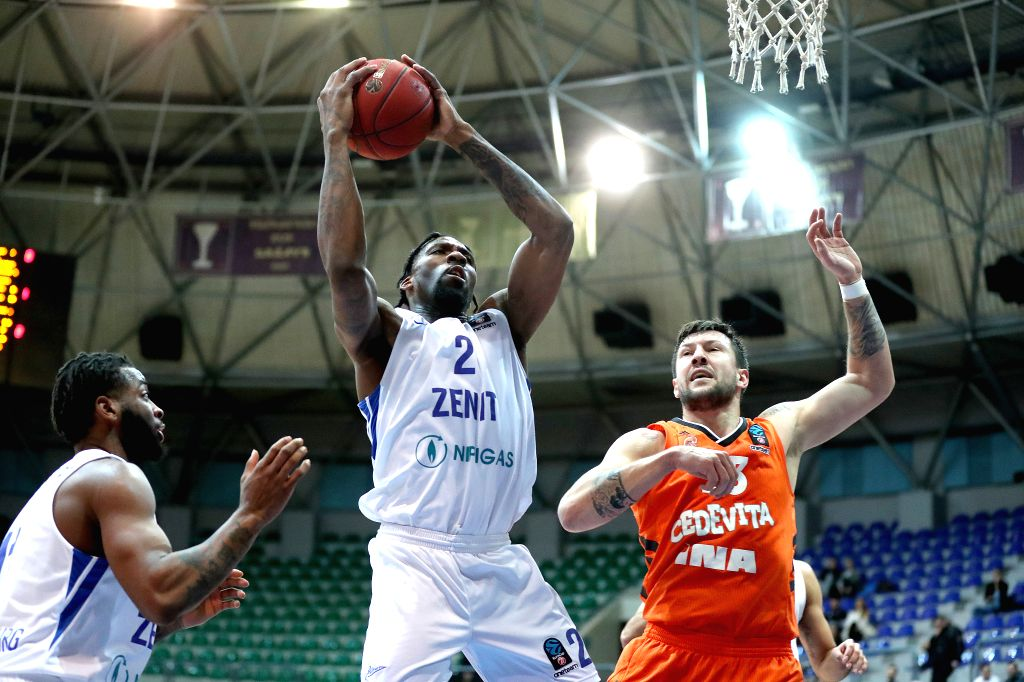 ZAGREB, Feb. 7, 2019 - Jalen Reynolds (C) of Zenit competes with Andrija Stipanovic (R) of Cedevita during a Top 16 Round 6 match between Cedevita Zagreb and Zenit St. Petersburg in Zagreb, Croatia, ...