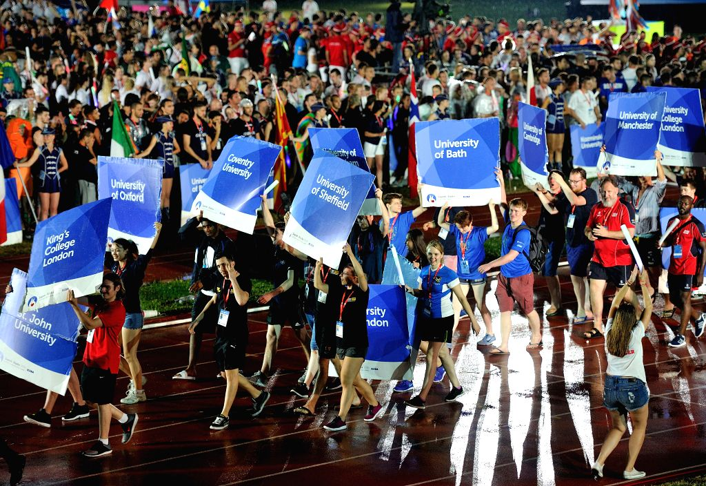 ZAGREB, July 14, 2016 - Athletes parade during the 3rd European Universities Games opening ceremony in Zagreb, Croatia, July 13, 2016. The 3rd European Universities Games is held on July 12-25 in ...