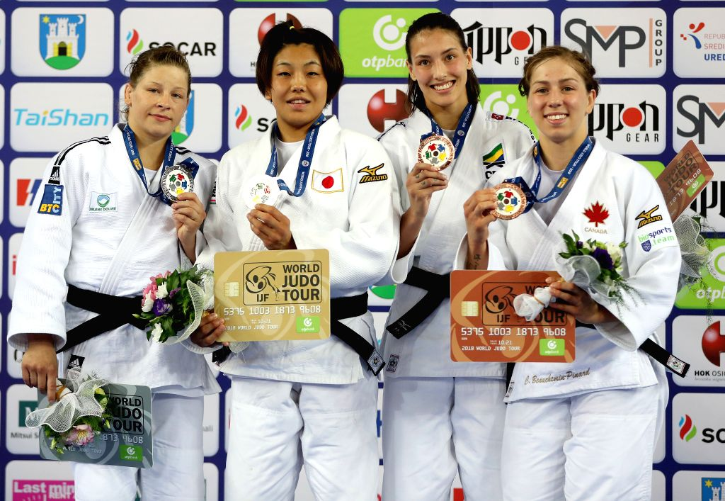 ZAGREB, July 29, 2018 - Gold medalist Nami Nabekura (2nd L) of Japan, silver medalist Tina Trstenjak (2nd R) of Slovenia, bronze medalists Alexia Castilhos (1st L) of Brasil and Catherine ...