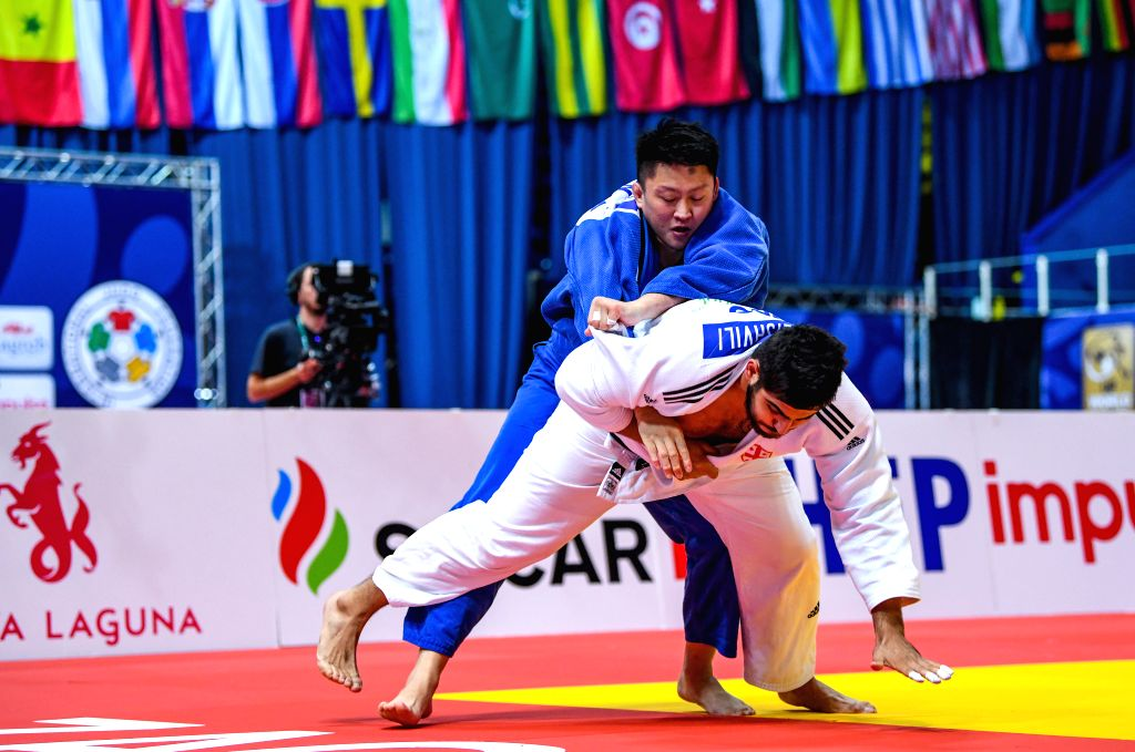 ZAGREB, July 29, 2019 - Gela Zaalishvili (in white) of Georgia competes with Harasawa Hisayoshi of Japan during the final of men's +100kg category at the IJF Judo Zagreb Grand Prix 2019 in Zagreb, ...