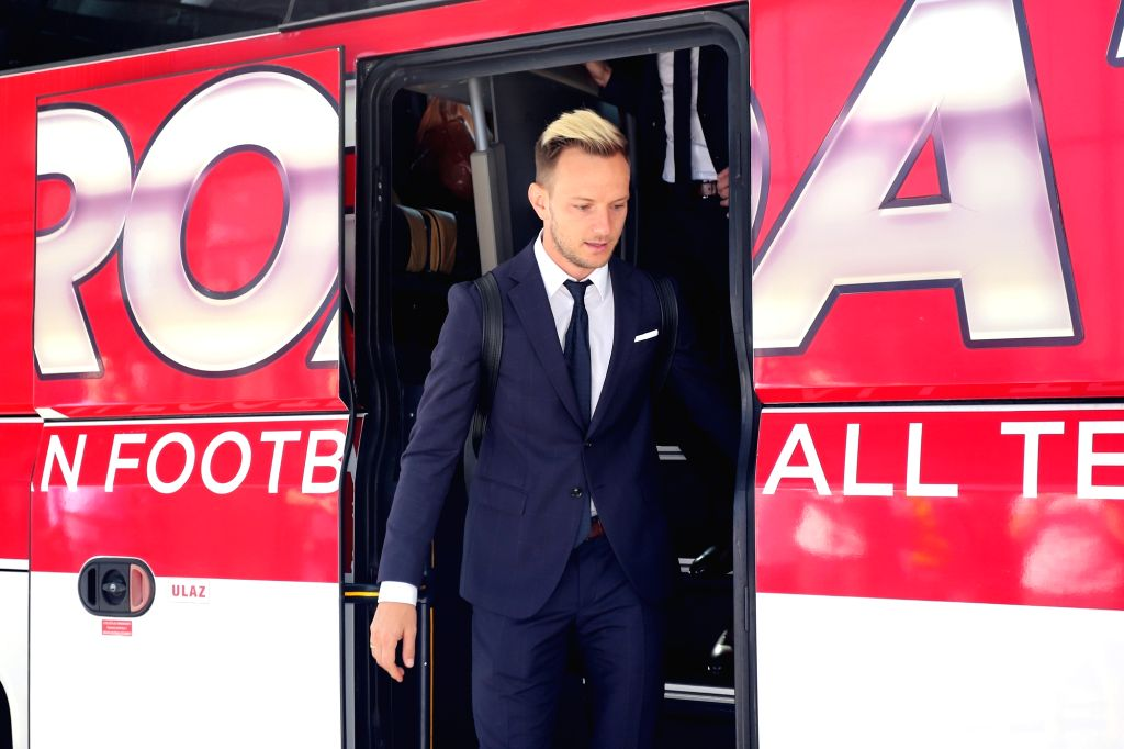 ZAGREB, June 12, 2018 - Croatian national football team's Ivan Rakitic arrives at Franjo Tudman Airport before leaving for Russia for the FIFA World Cup 2018, in Zagreb, Croatia, on June 11, 2018.