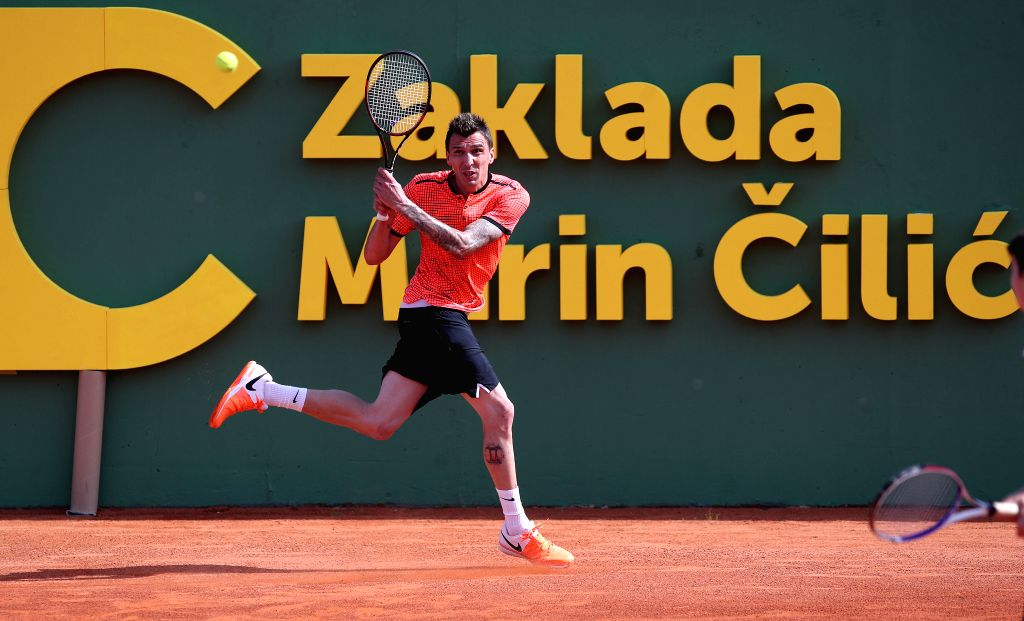 ZAGREB, June 13, 2019 - Mario Mandzukic plays tennis during Gem Set Croatia, a humanitarian sports event organized by the Marin Cilic Foundation, in Zagreb, Croatia, June 12, 2019.