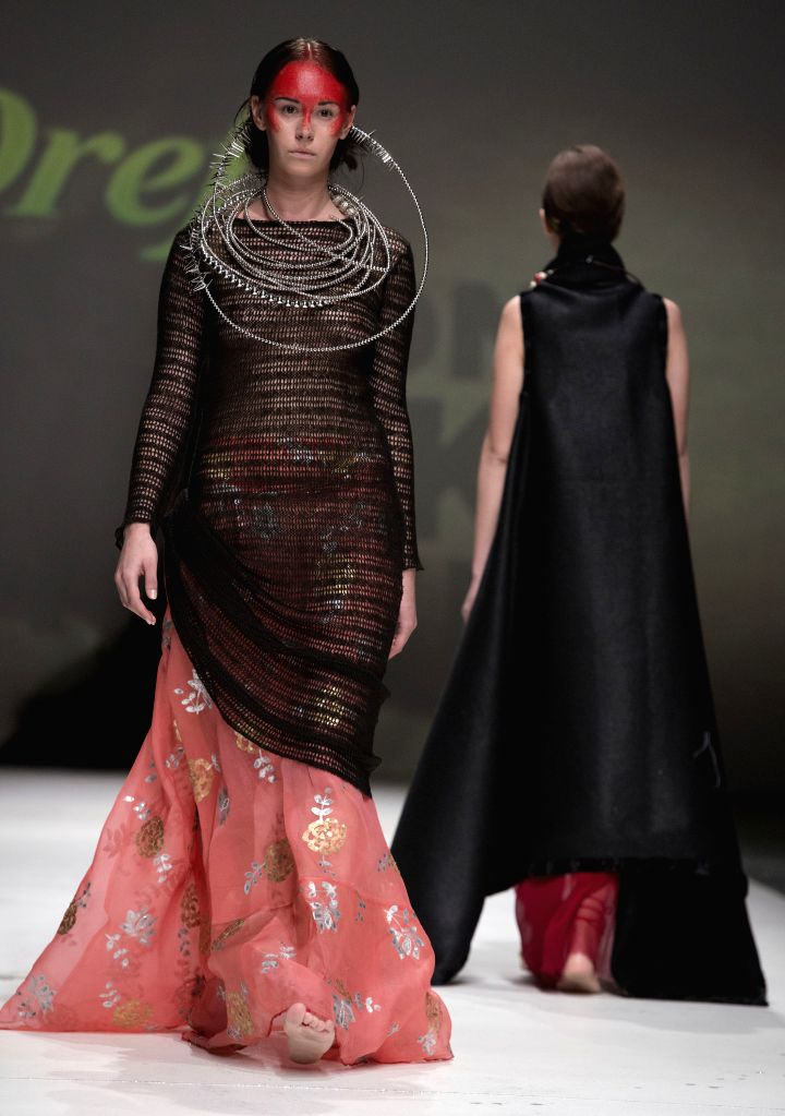 Models present creations of Zjena Glamocanin on the final night of 2014/2015 Autumn-Winter Zagreb fashion week in Zagreb, capital of Croatia, May 9, 2014. The ...
