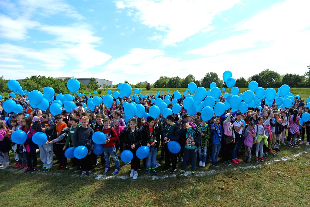 ZAGREB, May 10, 2017 - Children form a drop of water during the national earth day in Zagreb, capital of Croatia, May 10, 2017. The national earth day this year special focused on the wastewater ...