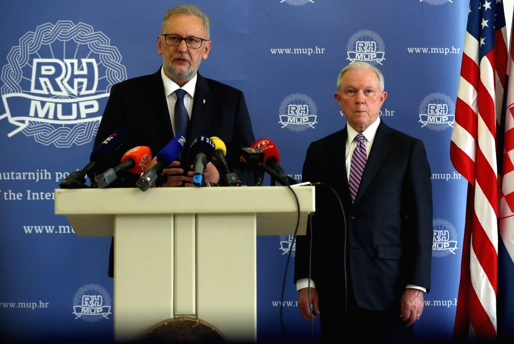 ZAGREB, May 24, 2018 - Croatian Interior Minister Davor Bozinovic (L) speaks during a press conference with visiting U.S. Attorney General Jeff Sessions in Zagreb, capital of Croatia, on May 24, ... - Davor Bozinovic