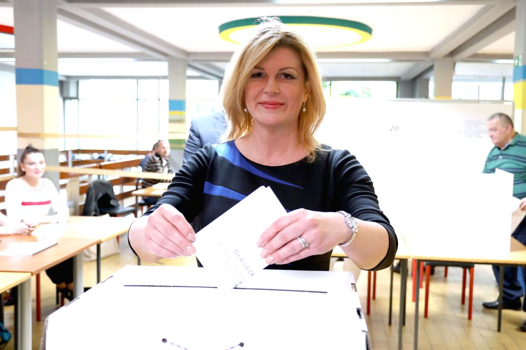 ZAGREB, May 26, 2019 - Croatian President Kolinda Grabar-Kitarovic casts her vote at a polling station in Zagreb, Croatia, May 26, 2019. The European Parliament elections started in Croatia on Sunday.