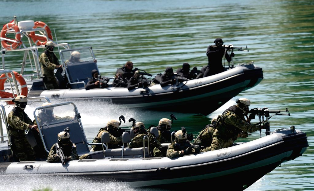 ZAGREB, May 28, 2016 - Croatian special forces perform during an army show at Lake Jarun park in Zagreb, capital of Croatia, on May 28, 2016. Croatian armed forces celebrated the 25th anniversary ...