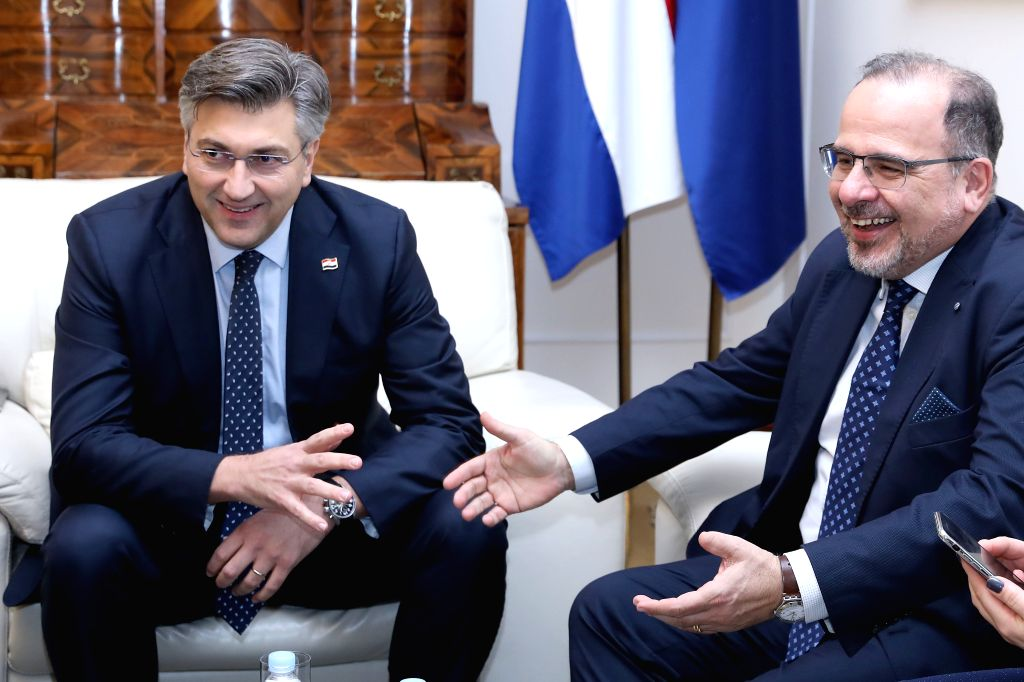 ZAGREB, Nov. 13, 2019 - Croatian Prime Minister Andrej Plenkovic (L) meets with Luca Jahier, President of the European Economic and Social Committee, in Zagreb, Croatia, Nov. 13, 2019. - Andrej Plenkovic