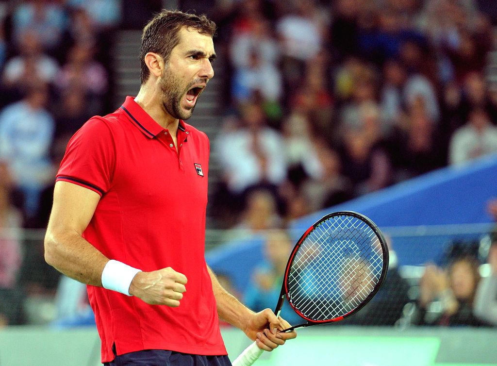 ZAGREB, Nov. 26, 2016 - Marin Cilic of Croatia celebrates during the Davis Cup World Group final singles match against Federico Delbonis of Argentina in Zagreb, capital of Croatia, Nov. 25, 2016. ...