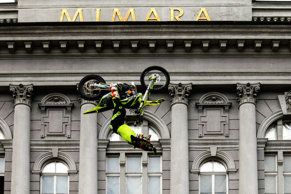 ZAGREB, Oct. 17, 2019 - A motocross rider performs freesytle stunts in front of the Mimara Museum in Zagreb, capital of Croatia, Oct. 16, 2019.