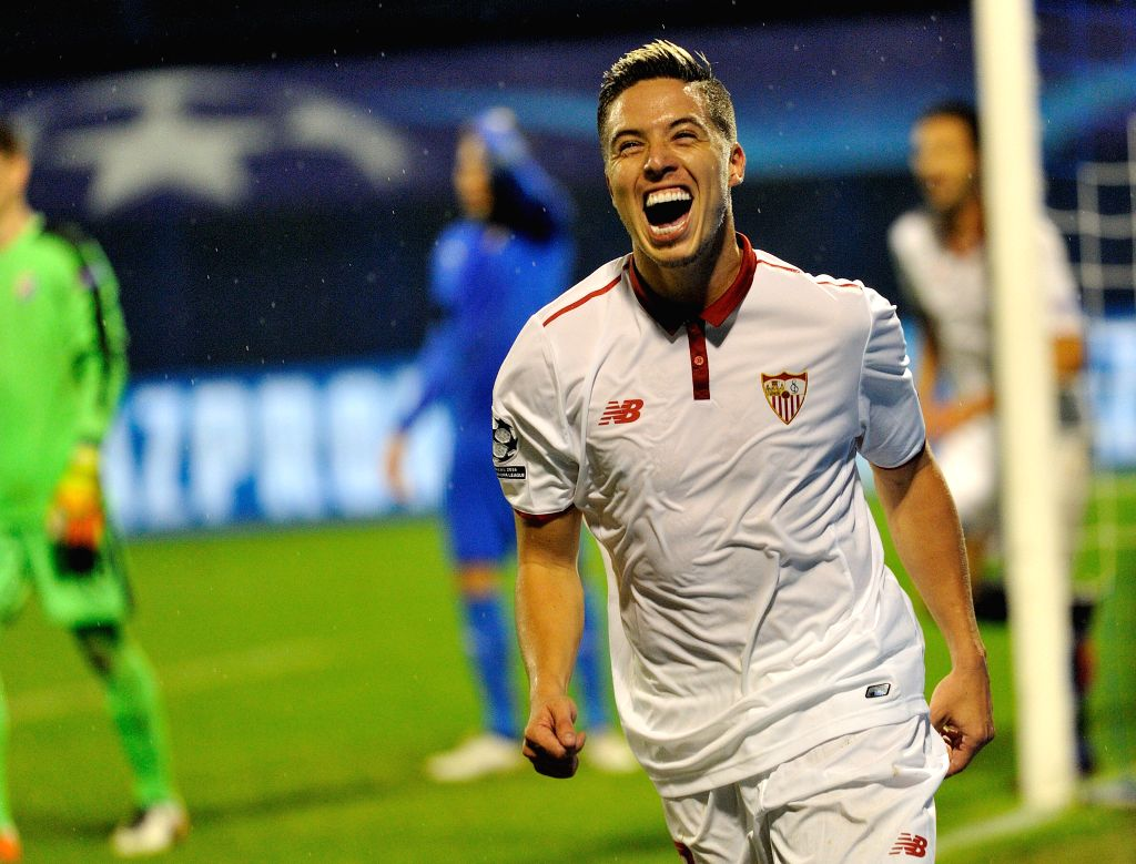 ZAGREB, Oct. 19, 2016 - Samir Nasri of Sevilla FC celebrates scoring during the UEFA Champions League Group H match against Dinamo Zagreb at the Maksimir Stadium in Zagreb, Croatia, Oct. 18, 2016. ...