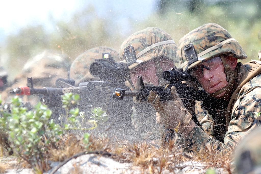 Soldiers of U.S. Marines and the Armed Forces of the Philippines (AFP) participate in the Amphibious Assault training as part of the U.S.-Philippines ...