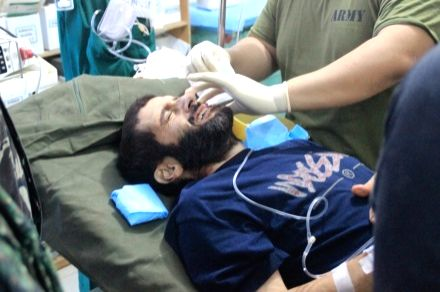 Rescued victim Lorenzo Vinceguerre receives treatment in Sulu, the Philippines, Dec. 6, 2014. Philippine government troops rescued a Swiss national from the Abu Sayyaf militants early on ..
