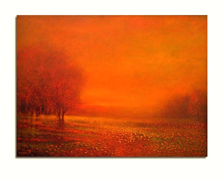 Zargar Zahoor\'s beautiful depiction of the Sunrise at the exhibition