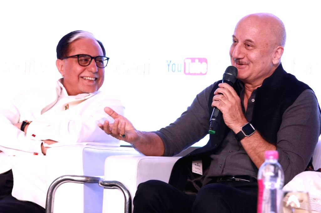 Zee Chairman  Dr. Subhash Chandra  and actor Anupam Kher during a programme organised to launch new prime time slot of Zindagi channel - the first to syndicate content from Pakistan and ... - Anupam Kher