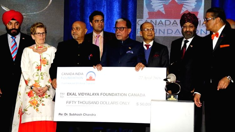 Zee TV and Essel Group chairman Subhash Chandra received the $50,000 Global Indian Award from the Canada-India Foundation in Toronto on April 23, 2016.