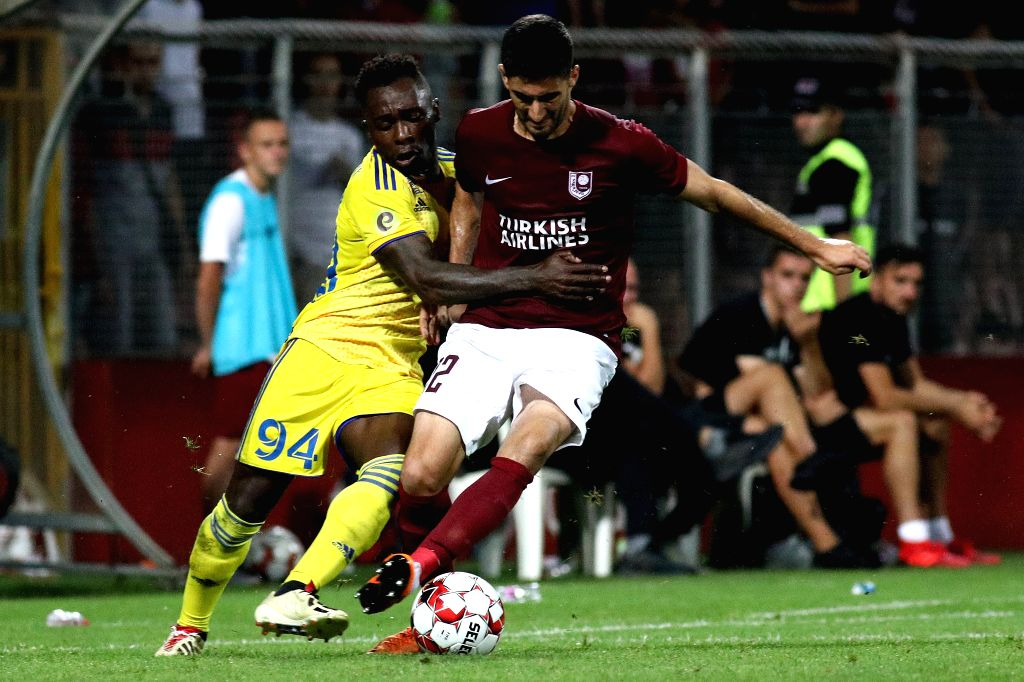 ZENICA, Aug. 9, 2019 - Bojan Letic (R) of Sarajevo vies with Hervaine Moukam of Bate Borisov during the third qualifying round match of UEFA Europa League between Sarajevo of Bosnia and Herzegovina ...