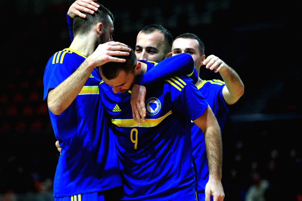 ZENICA, Feb. 2, 2019 - Players of Bosnia and Herzegovina celebrate scoring during the Group F Third Preliminary Round Match of qualification for FIFA Futsal World Cup 2020 against Turkey in Zenica, ...