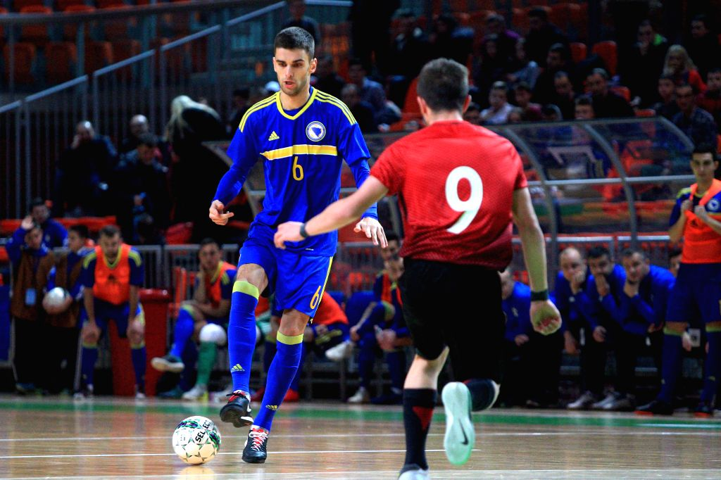ZENICA, Feb. 2, 2019 - Srdjan Ivankovic (L) of Bosnia and Herzegovina competes during the Group F Third Preliminary Round Match of qualification for FIFA Futsal World Cup 2020 against Turkey in ...