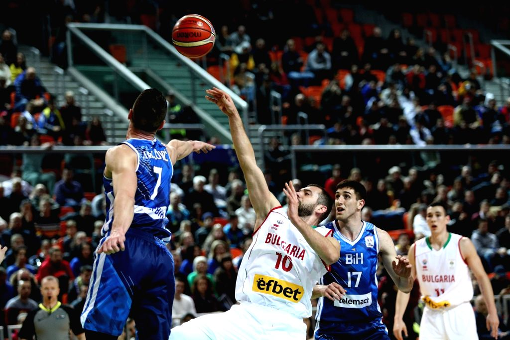 ZENICA, Feb. 25, 2019 - Amar Gegic (2nd L) of Bosnia and Herzegovina competes during the 2019 FIBA Basketball World Cup 2019 European Qualifiers between Bosnia and Herzegovina and Bulgaria in Zenica, ...
