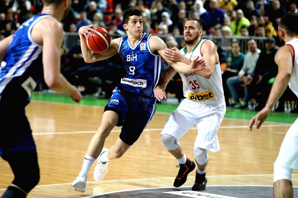 ZENICA, Feb. 25, 2019 - Pavel Marinov (2nd L) of Bulgaria competes during the 2019 FIBA Basketball World Cup 2019 European Qualifiers between Bosnia and Herzegovina and Bulgaria in Zenica, Bosnia and ...