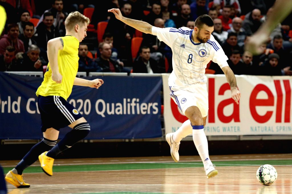 ZENICA, Jan. 31, 2019 - Marijo Aladzic of Bosnia and Herzegovina (R) competes during the Group F Second Preliminary Round Match of qualification for FIFA Futsal World Championship 2020 between Bosnia ...