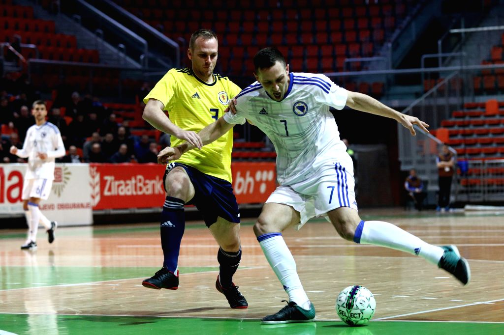 ZENICA, Jan. 31, 2019 - Mirko Hrkac of Bosnia and Herzegovina (R) competes during the Group F Second Preliminary Round Match of qualification for FIFA Futsal World Championship 2020 between Bosnia ...