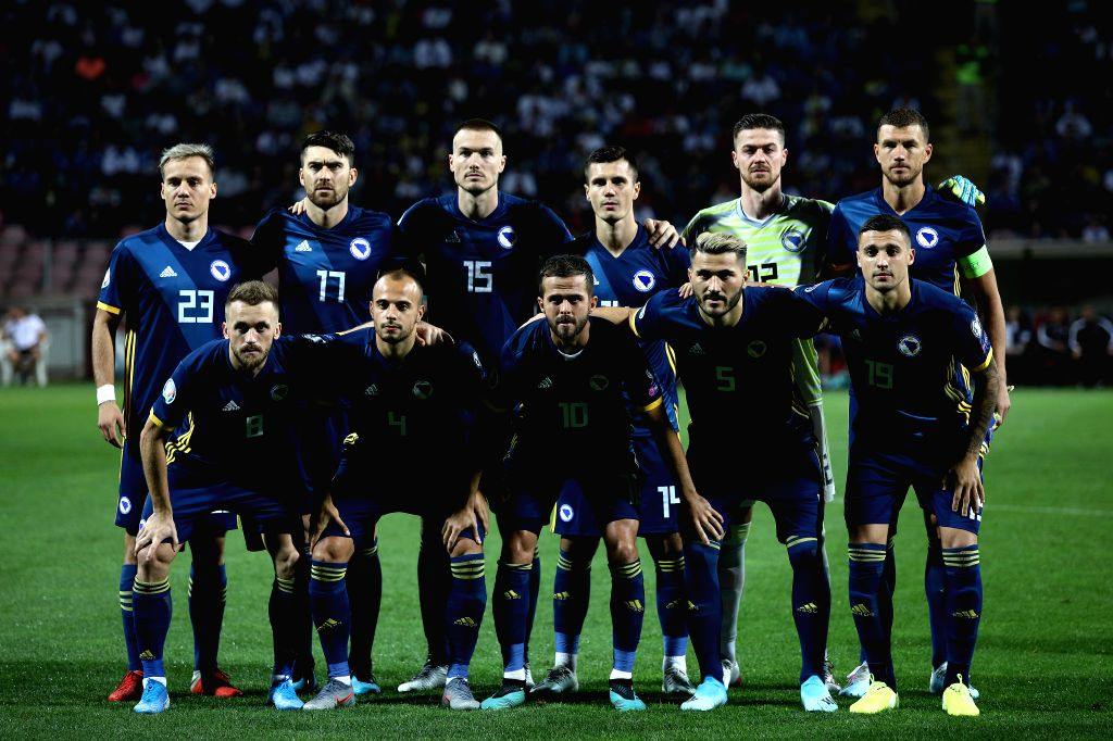 ZENICA, Sept. 6, 2019 - Players of Bosnia and Herzegovina (BiH) pose for a group photo before the UEFA EURO 2020 qualifier group J match between BiH and Liechtenstein in Zenica, Bosnia and ...