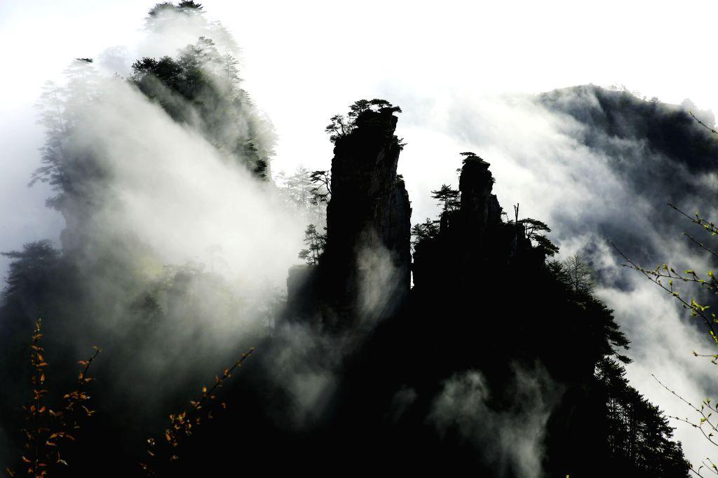 ZHANGJIAJIE, April 18, 2016 - Photo taken on April 18, 2016 shows clouds view at Wulingyuan senic spot in Zhangjiajie, central China's Hunan Province.