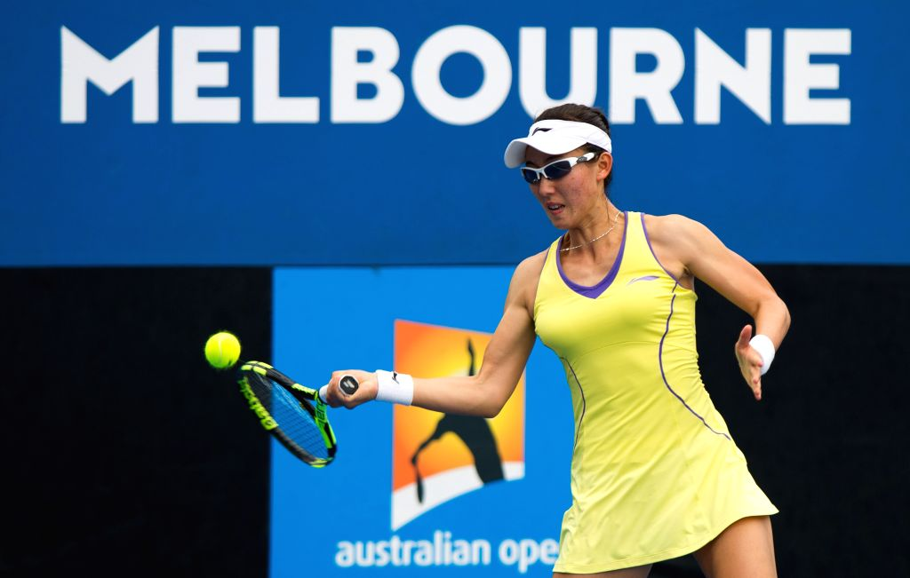 Zheng Saisai of China competes during the second-round match of women's singles against Johanna Konta of Britain at the Australian Open Tennis Championships in ...