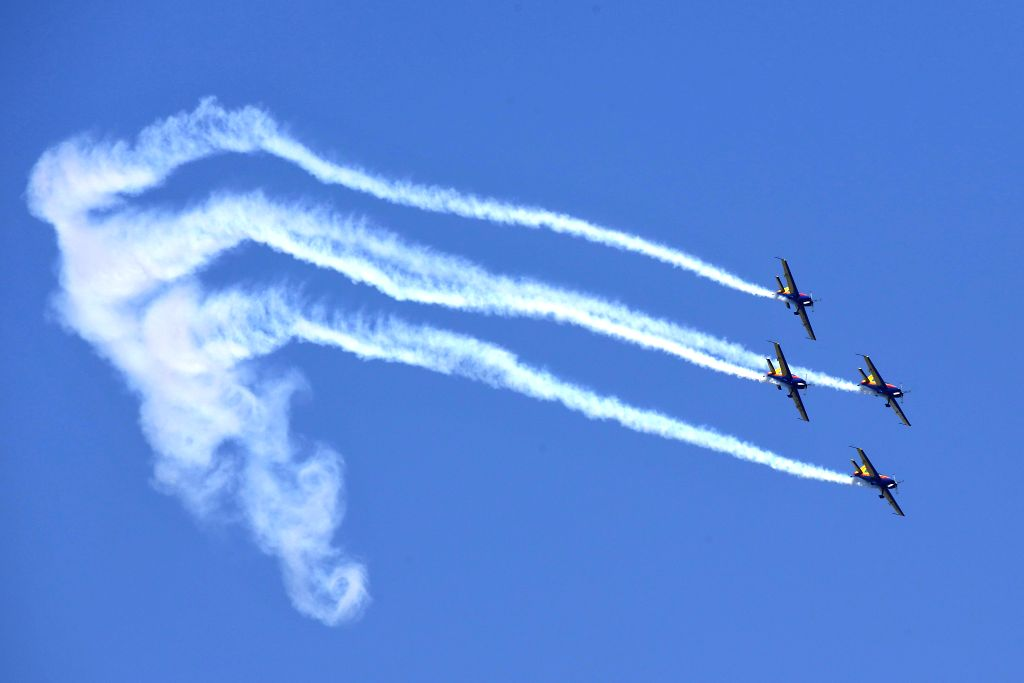 ZHENGZHOU, April 27, 2017 - Aerobatic aircrafts fly during a performance at the Airshow Zhengzhou 2017 in Zhengzhou, capital of central China's Henan Province, April 27, 2017. The 5-day air show ...