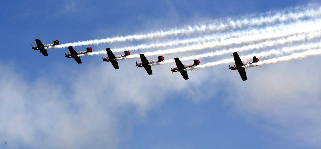 ZHENGZHOU, April 30, 2017 - Aerobatic aircraft perform during the AirShow 2017 in Zhengzhou, capital of central China's Henan Province, April 30, 2017. The AirShow Zhengzhou will last till May 1.