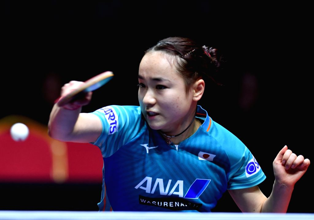 ZHENGZHOU, Dec. 13, 2019 - Ito Mima of Japan returns a shot during the women's singles semifinal match against Sato Hitomi of Japan at the 2019 ITTF World Tour Grand Finals in Zhengzhou, central ...