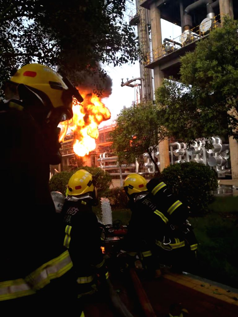 ZHENGZHOU, July 20, 2019 - Firefighters carry out rescue work at the site of an explosion at a gas plant in Yima, central China's Henan Province. Two people were killed, 18 seriously injured and 12 ...