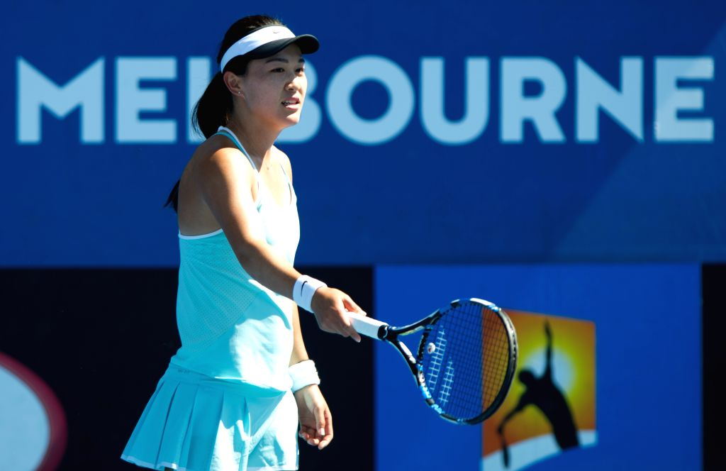 Zhu Lin of China reacts during the women's singles final round of Australian Open qualifying match against Maria Sakkari of Greece at Melbourne Park in Melbourne, ...