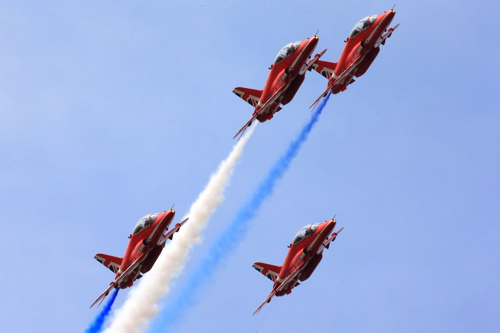 ZHUHAI, Nov. 1, 2016 - The Red Arrows, the British Royal Air Force Aerobatic Team, perform at the 11th China International Aviation and Aerospace Exhibition in Zhuhai, south China's Guangdong ...